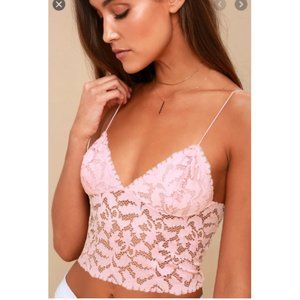 FREE PEOPLE Lacey Lace Brami PINK SMALL NEW